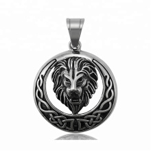 34314 xuping fashion Stainless Steel jewelry black gun color lion head cross pendant